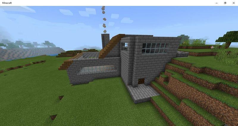 modern stone brick home: Image via Mojang