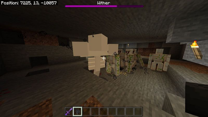 After the explosion the wither will begin shooting projectiles and attacking players and other mobs around it.