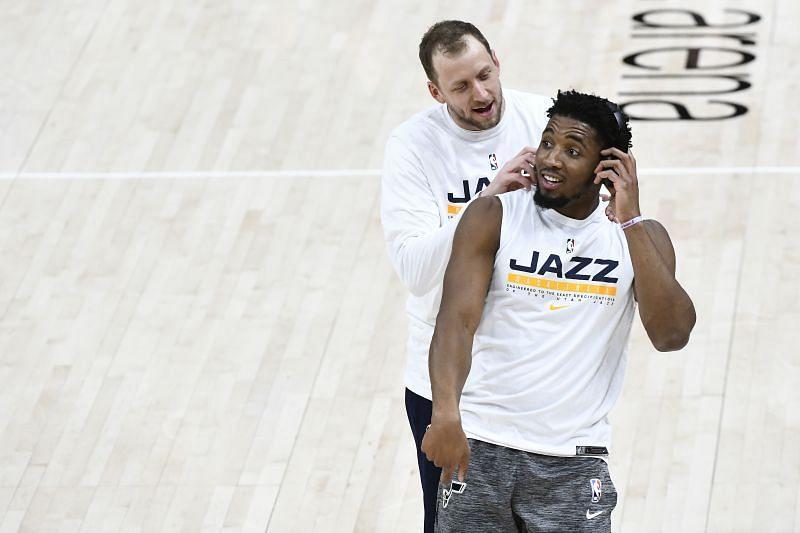 Donovan Mitchell and Joe Ingles of the Utah Jazz