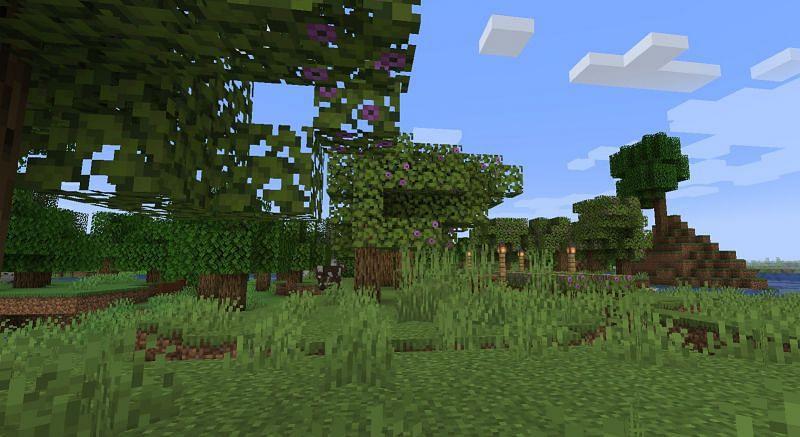 Shown: A few beautiful Azalea trees (Image via Minecraft)