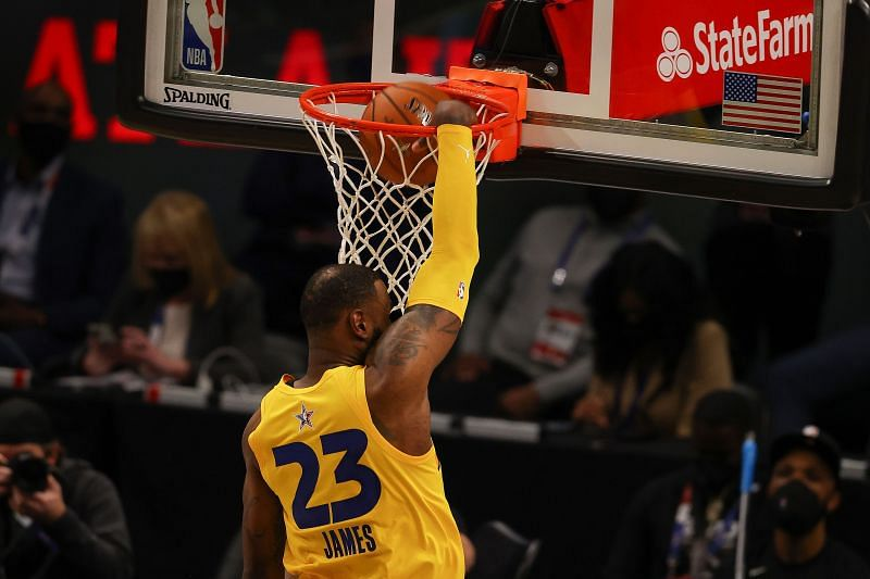 LeBron James dunks the ball at the 2021 NBA All-Star Game.