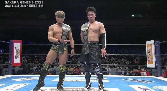 Roppongi 3K defeated Suzuki Gun to win the IWGP Jr. Heavyweight Tag Team Titles for the fifth time