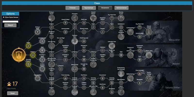Devastator class skill tree in Outriders Talent Calculator (Image via paradoxzyx.github.io)