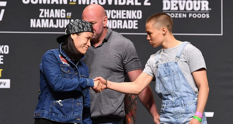 Zhang Weili (Left) and Rose Namajunas (Right) during UFC 261 pre-fight press conference