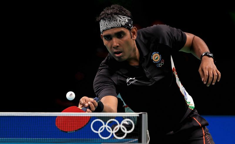Sharath Kamal in action during the 2016 Rio Olympics