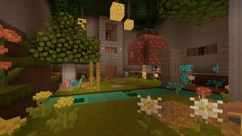 Covered Minecraft mushroom garden (Image via Reddit)