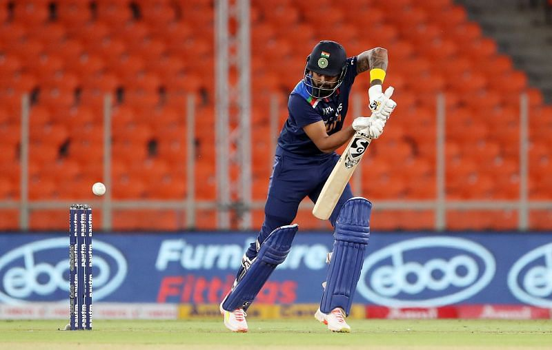 KL Rahul in action in the T20I series against England.