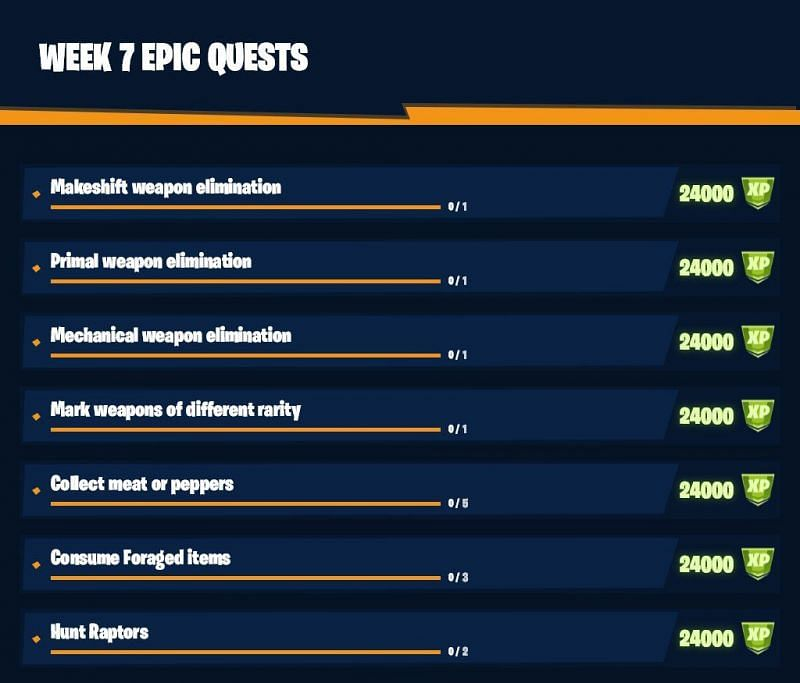 The Fortnite week 7 challenges. Image via Twitter (@shiinaBR)
