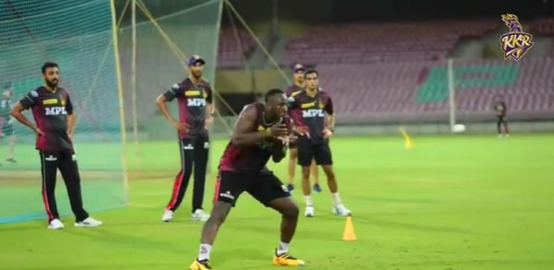 Andre Russell during catching practice. Pic: KKR