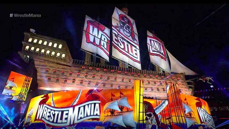 The set for WrestleMania 37 in Tampa, FL