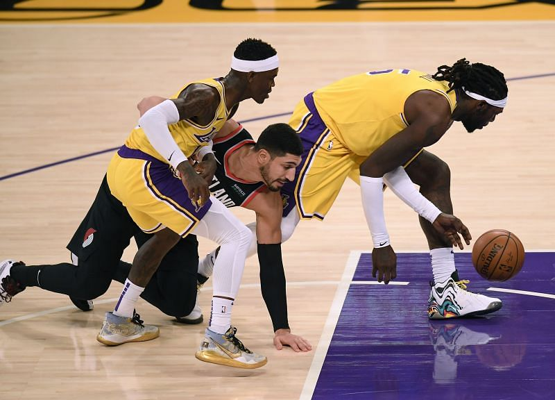 Dennis Schroder (L) and Montrezl Harrell (R) of the Los Angeles Lakers were involved in an altercation recently.