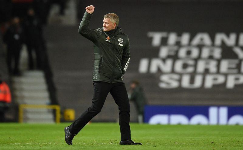 Manchester United manager Ole Gunnar Solskjaer celebrates his team