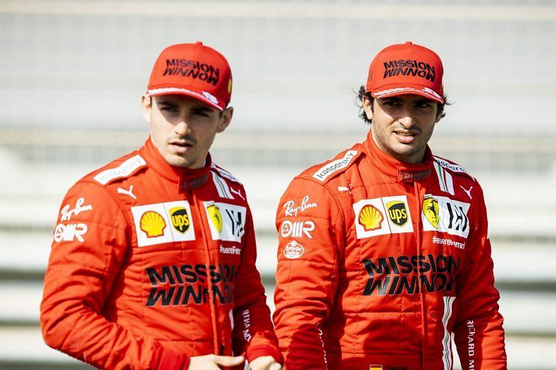 Carlos Sainz and Charles Leclerc of Ferrari at the pre-season test in Bahrain. Photo by Mark Thompson/Getty Images.