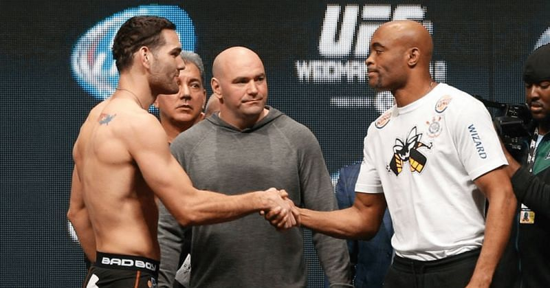 Chris Weidman (Left) and Anderson Silva (Right)