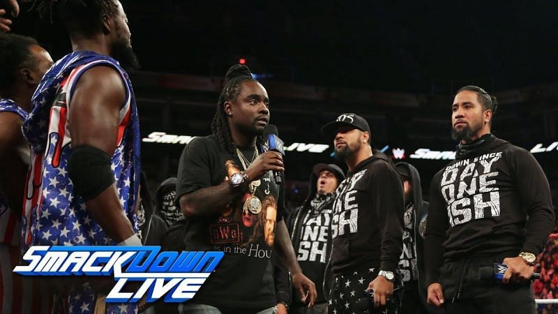 Wale hosting the Rap Battle between the Usos and The New Day