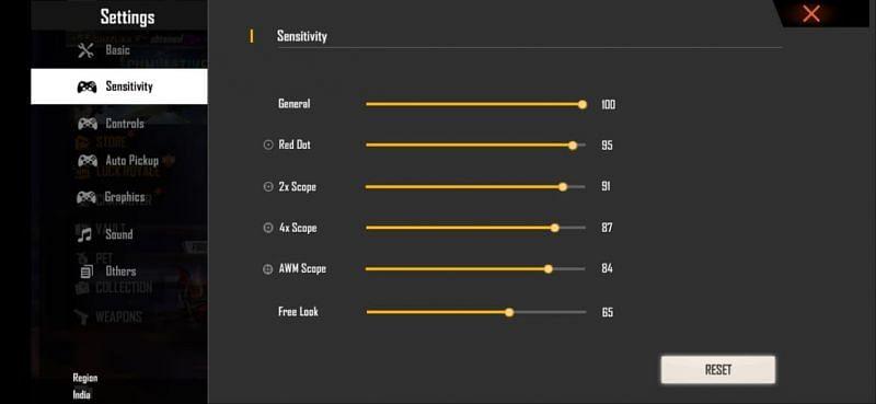 The best headshot sensitivity settings for Free Fire
