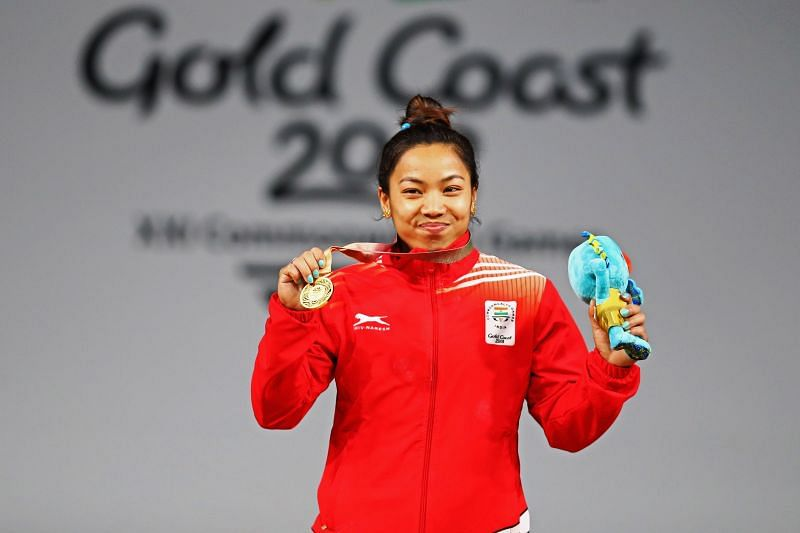 Mirabai Chanu after winning the Gold meal at the 2018 Gold Coast Commonwealth Games