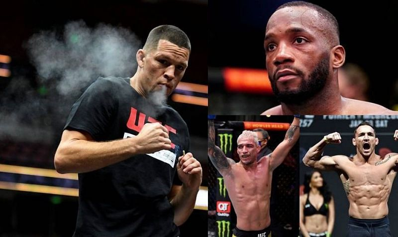 Nate Diaz (left); Leon Edwards (top right); Charles Oliveira (second from bottom right); Michael Chandler (bottom right)