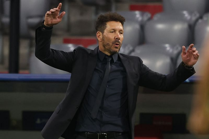 Diego Simeone reacts during an Atletico Madrid game