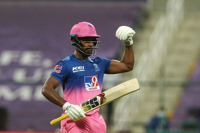Sanju Samson flexes his muscles after his century against PBKS.(Twitter)