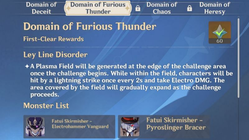 Domain of Furious Thunder in Genshin Impact 1.5 Twisted Realm
