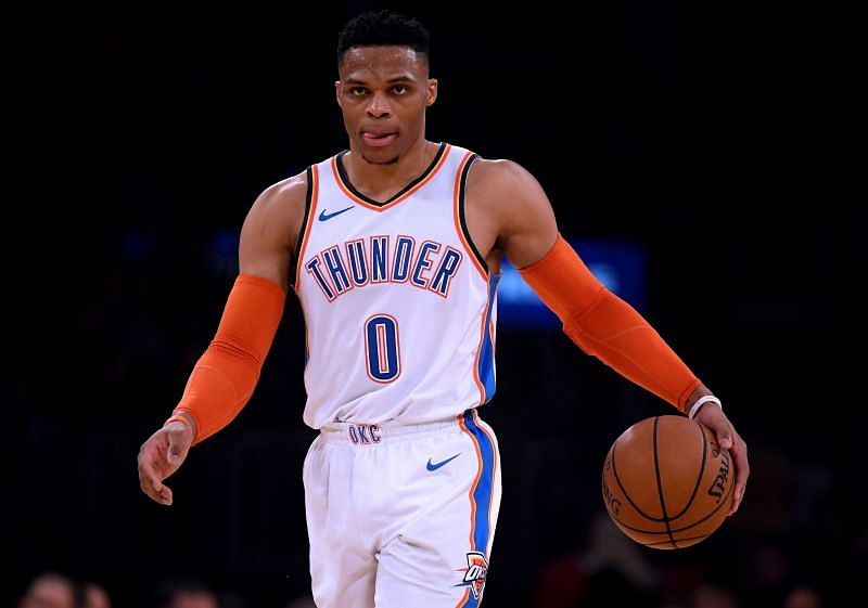 Russell Westbrook with the OKC Thunder in action against the LA Lakers