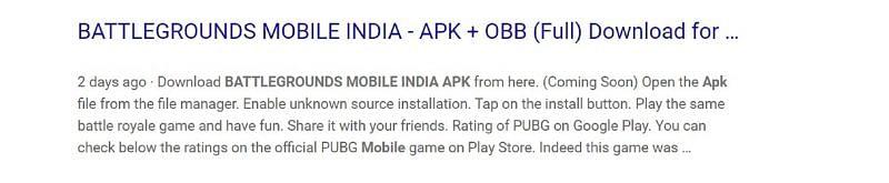Un sitio que proporciona a los usuarios un enlace de descarga de APK y OBB falso