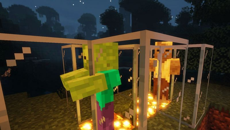 Both the Zombie and Husk in test tubes (Image via Minecraft)
