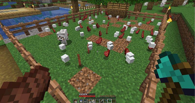 An animal farm will provide infinite food for players in Minecraft (Image via u/Gustavolsso on Reddit)