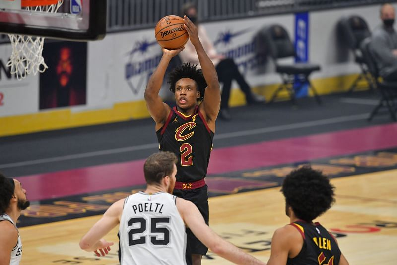 Collin Sexton (shooting the ball) with the Cleveland Cavaliers