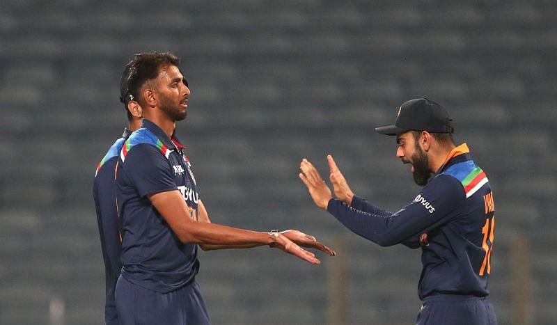 Prasidh Krishna celebrates with Virat Kohli after castling Jos Buttler in the second ODI