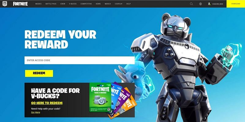 Players can redeem their codes at this site by entering the codes in the designated box. Image via Fortnite.com/redeem