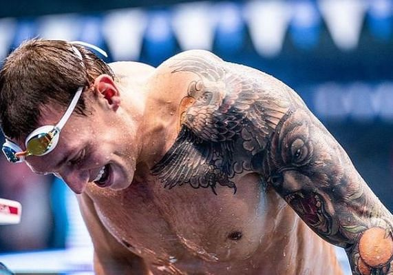 Caeleb Dressel at the end of a swim (Image Credits - Dressel's Instagram Account)