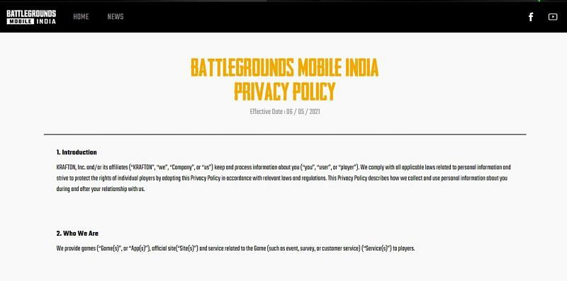 Privacy Policy of Battlegrounds Mobile India