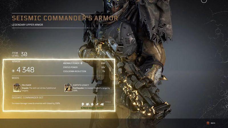 Complete details for Seismic Commander Armor set for Devastator (Image via Reddit, u/NetflixNReddit)