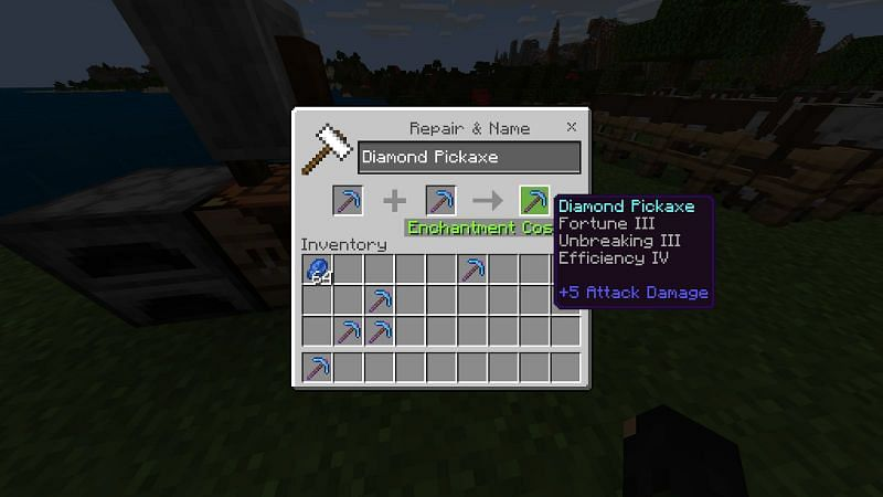 Enchantment using anvil in Minecraft