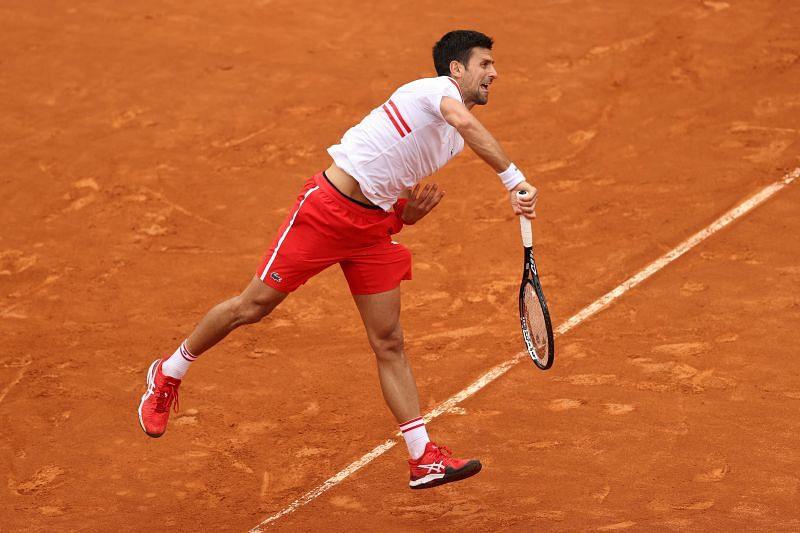 Novak Djokovic hits a serve
