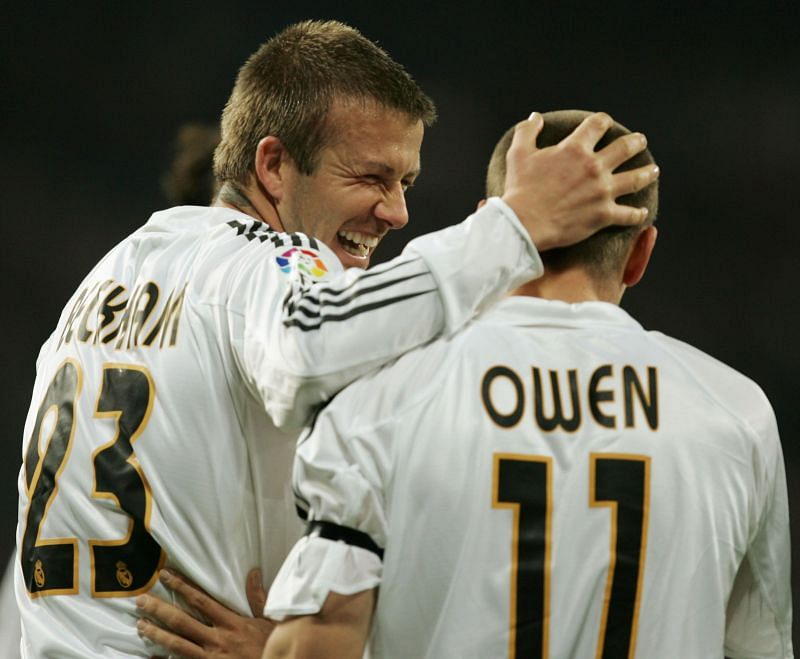 Owen and Beckham playing for Real Madrid. (Photo by Denis Doyle/Getty Images)