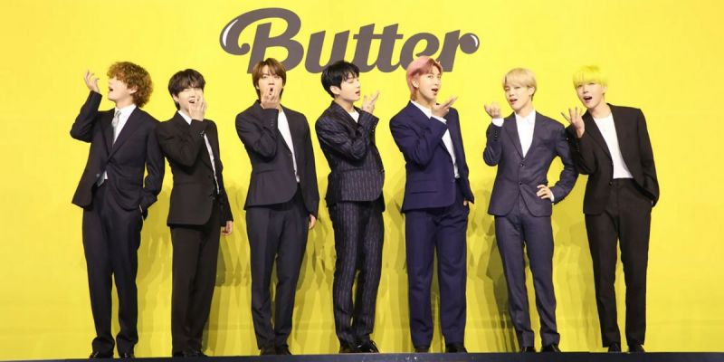 """BTS pose at the Global Press Conference for """"Butter"""" (Image via Teen Vouge)"""