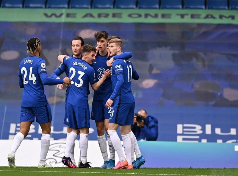 Kai Havertz and Timo Werner (right) celebrate Chelsea