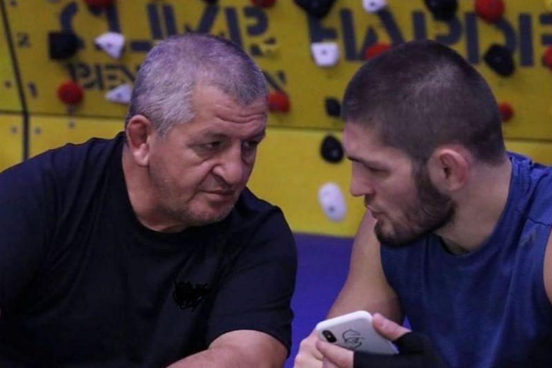 Khabib Nurmagomedov with his father, Abdulmanap Nurmagomedov.