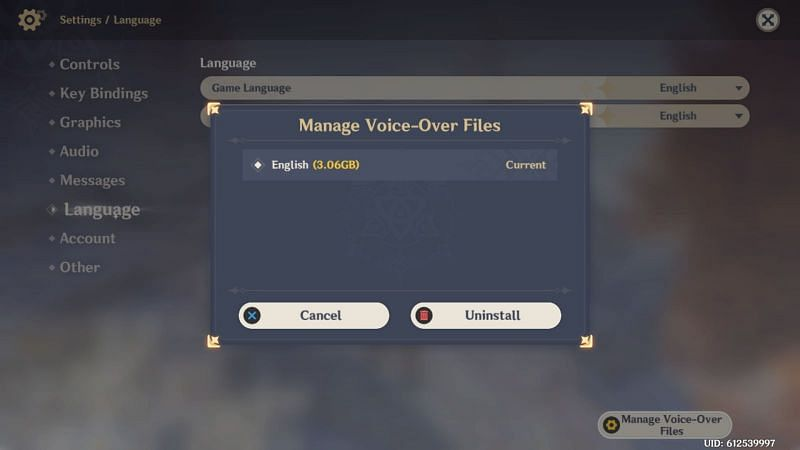 Managing voice-over files (image via Genshin Impact)