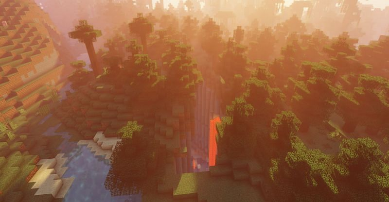 A ravine with a view (Image via Minecraft)