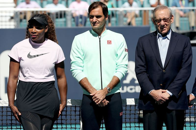 Serena Williams with Roger Federer at the 2019 Miami Open