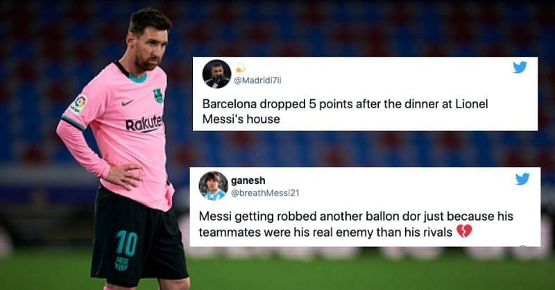 Twitter explodes as Lionel Messi's Barcelona throw away 2 goal lead in 3-3 draw against Levante