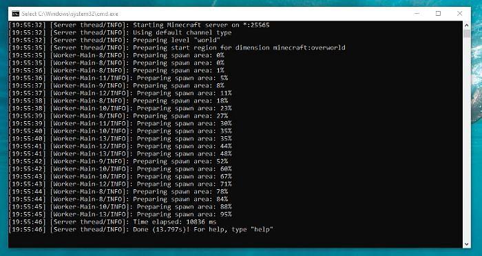 A server starting (Image via Zakkery B)