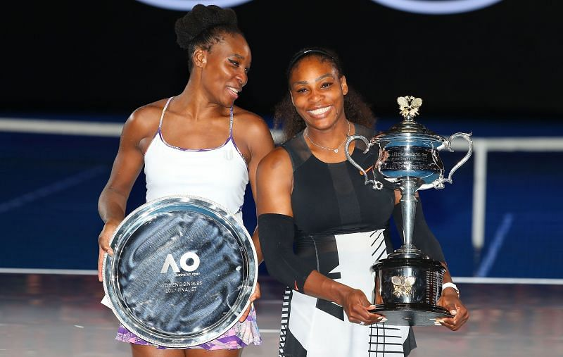 Venus Williams with Serena Williams after the final of the 2017 Australian Open