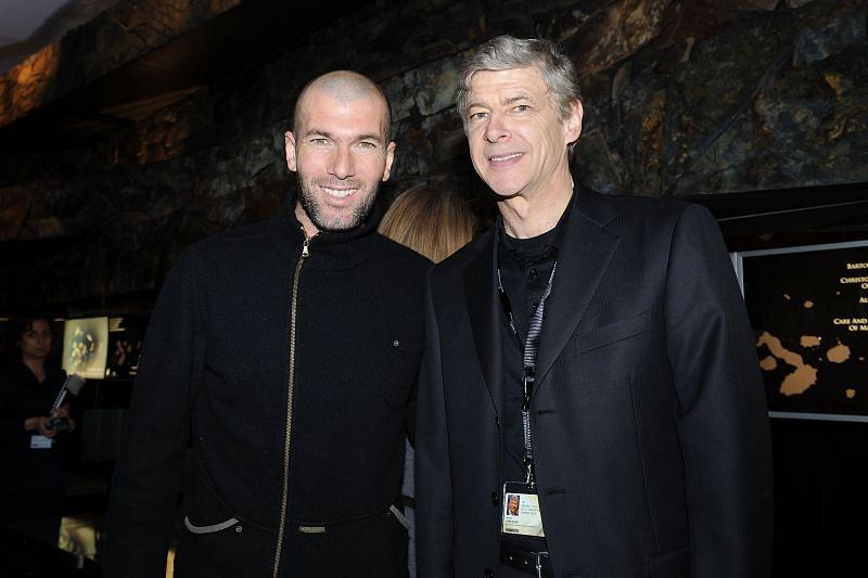 Zinedine Zidane (L) and Arsene Wenger