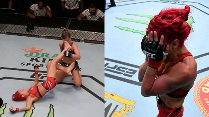 Randa Markos cries after losing due to disqualification against Luana Pinheiro