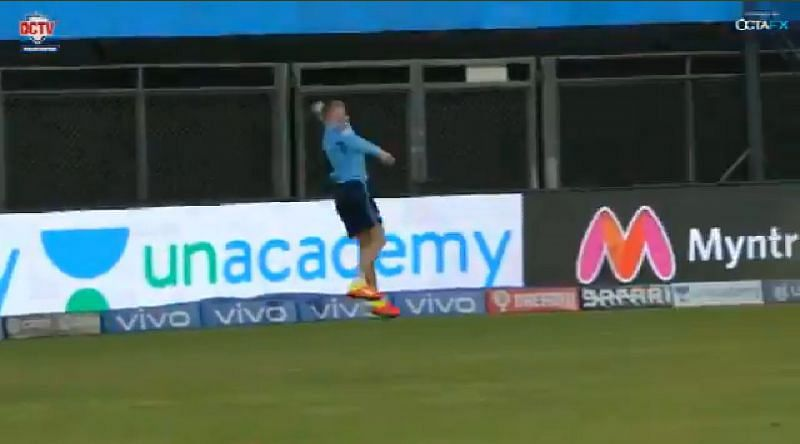Sam Billings took a brilliant catch in the training session.. Screengrab: DelhiCapitals Twitter